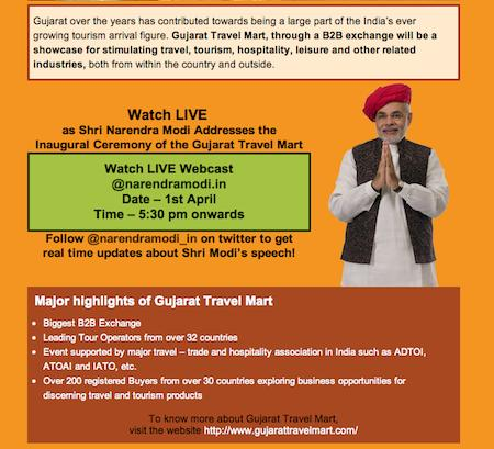 Shri Narendra Modi to address the inaugural ceremony of Gujarat Travel Mart!:- LIVE on 1st April 2013 @ 17.30 HRS Onwards