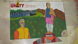 Rangoli on the theme of The Statue of Unity