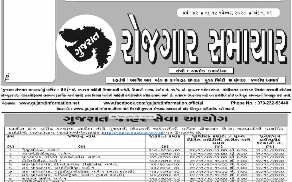 Gujarat Rojgar Samachar Weekly 18-November-2020