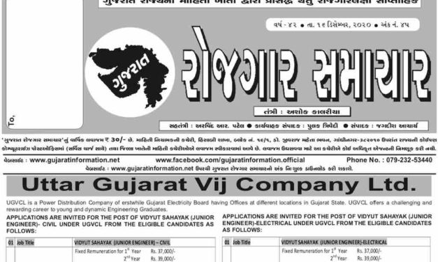 Gujarat Rojgar Samachar Weekly 16-December-2020