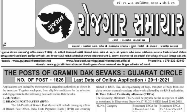 Gujarat Rojgar Samachar Weekly 30-December-2020