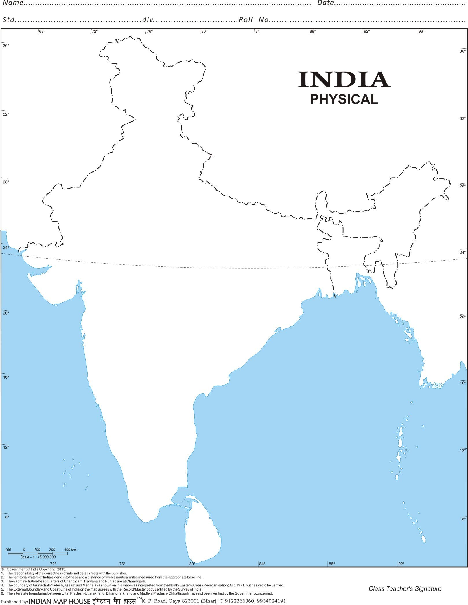 outline physical map of india India Physical Map A4 Offikart outline physical map of india